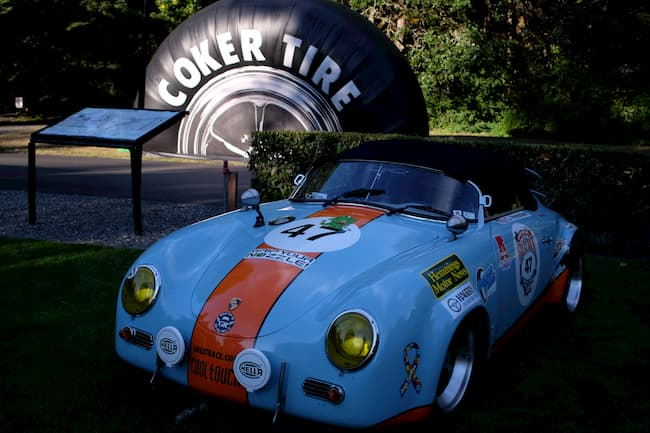 Blue Porsche at finish line 2019 Great Race